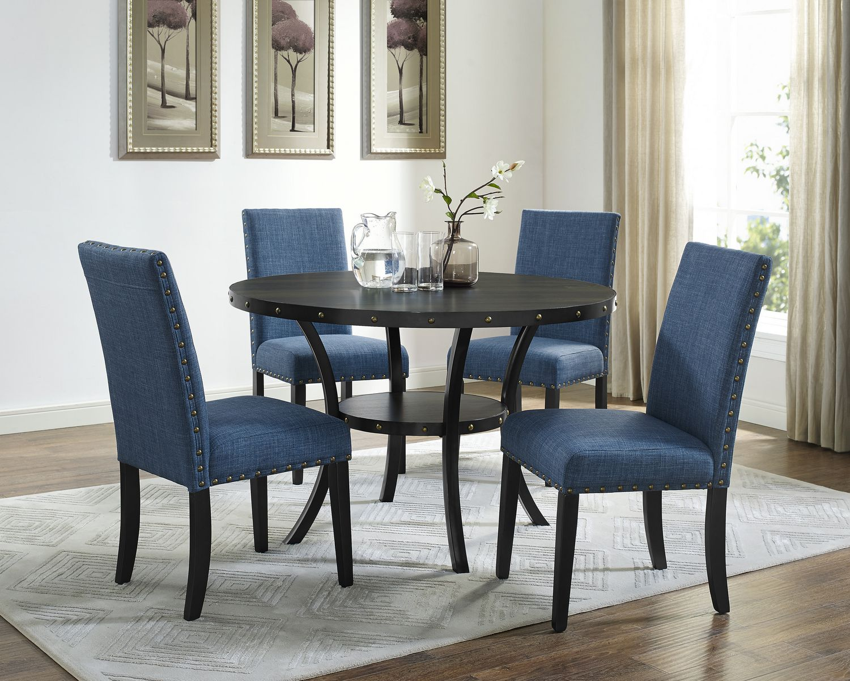 table a manger avec chaise bleu