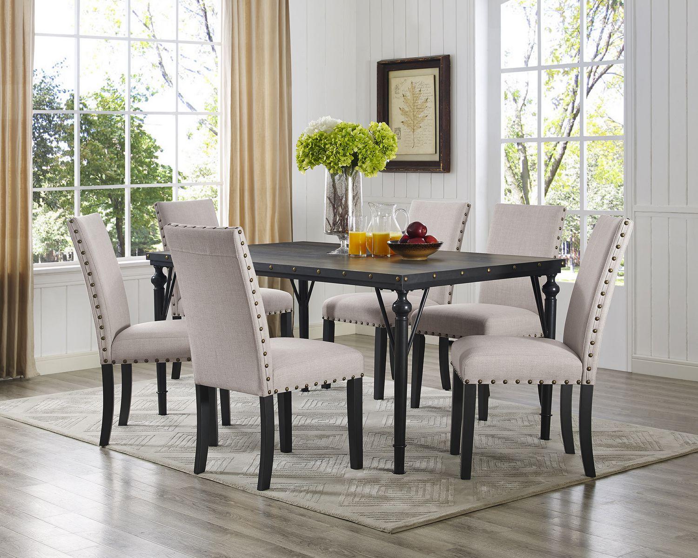 Rehausser Une Table De Salle A Manger set de salle à manger 7 pièces indira, table + 6 chaises, beige