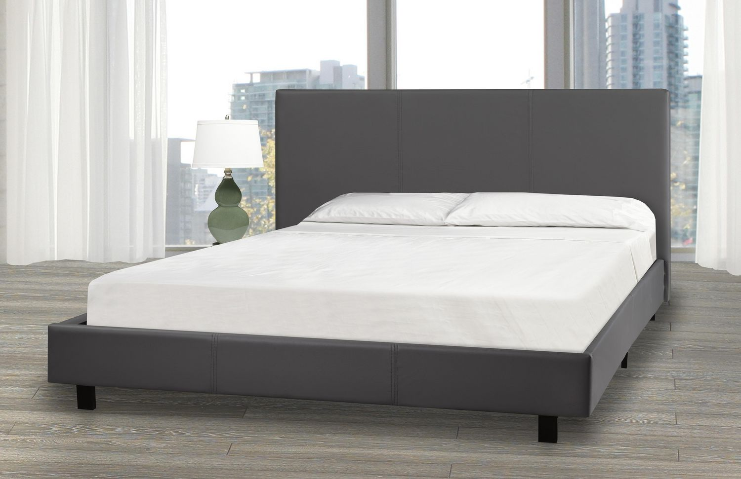 Picture of: Queen Size Platform Bed And Mattress Set Grey Walmart Canada
