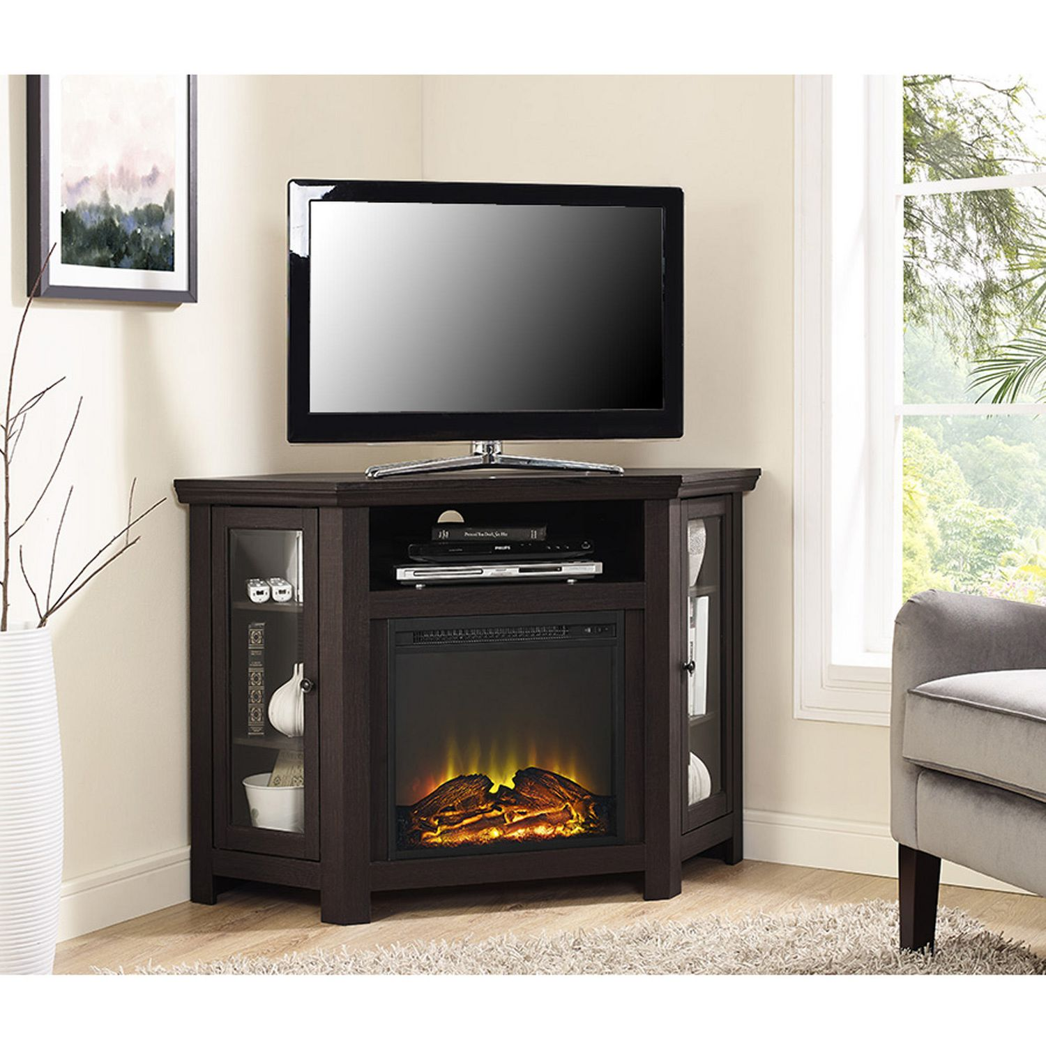 real white fireplace fresno console guys entertainment electric gas w flame media inch center log