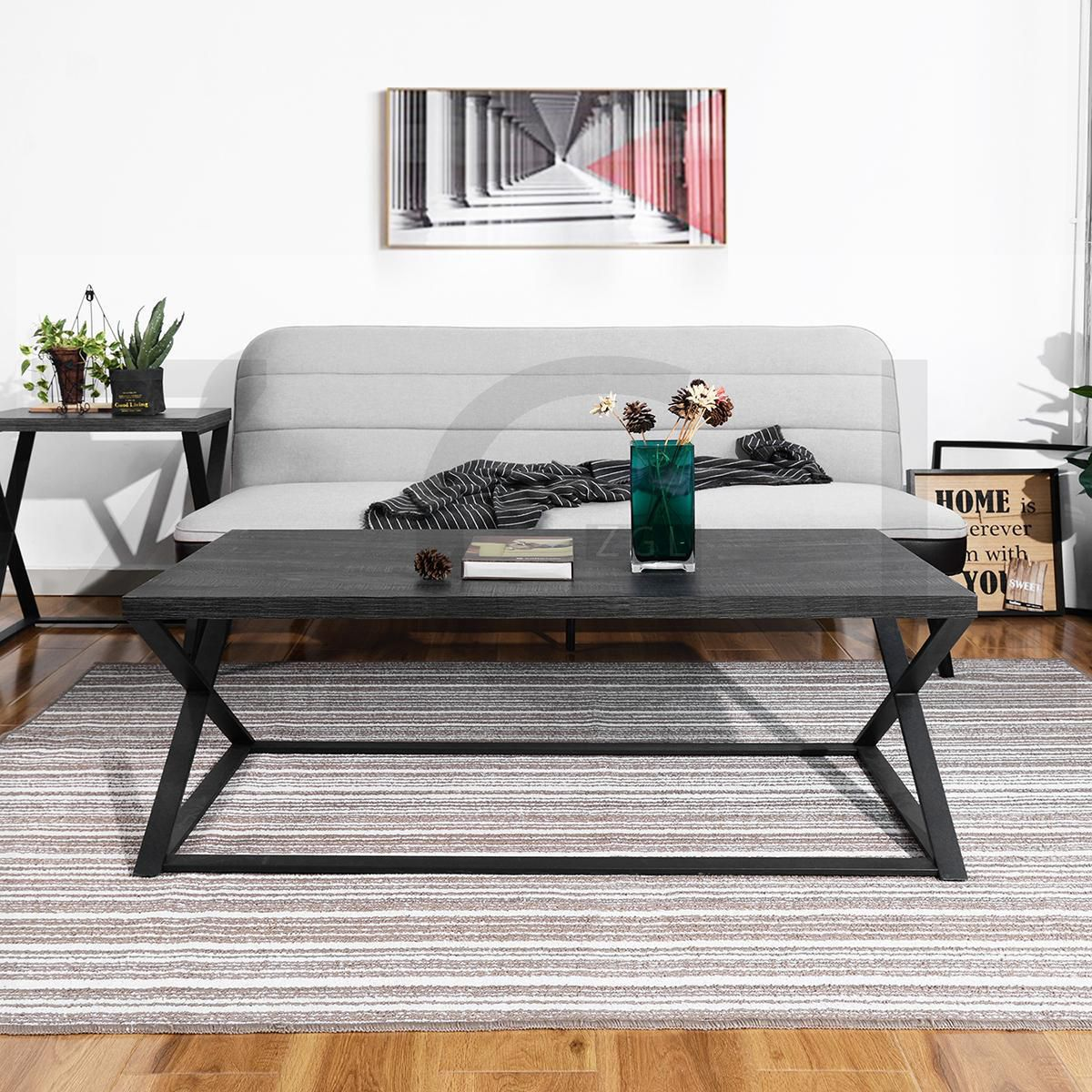 living room coffee table with lower shelf and dark brown