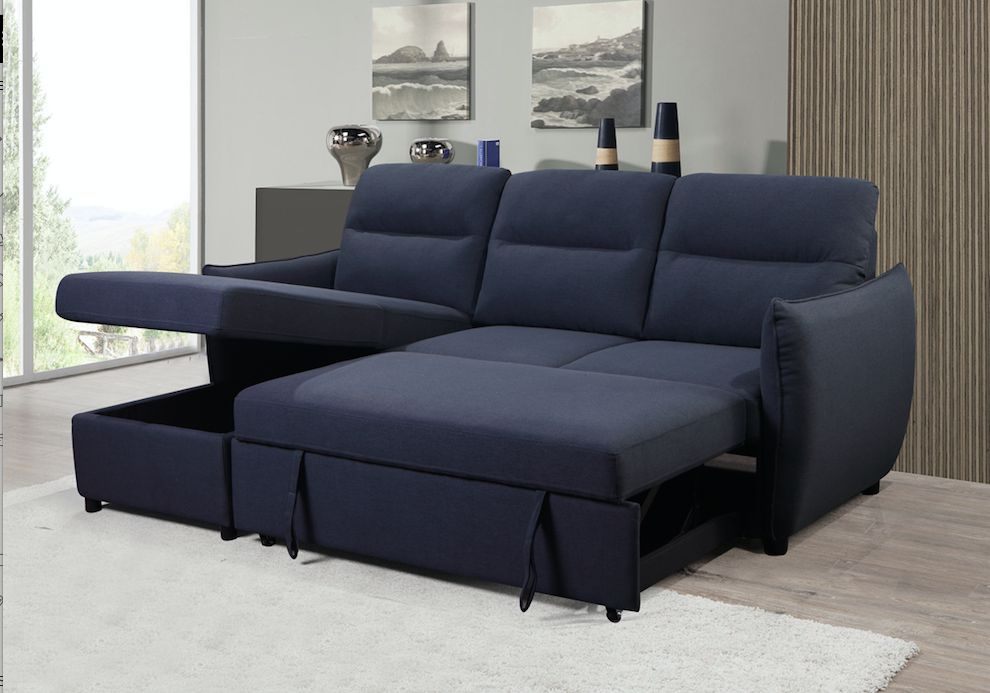 K Living Liam Linen Fabric Sectional Sofa Bed In Navy Walmart Canada