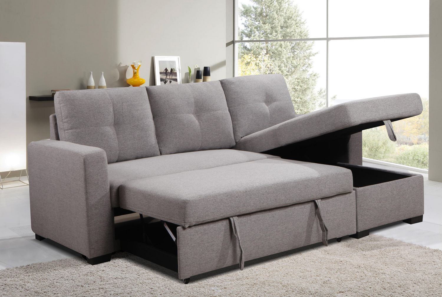 K Living Victor Linen Fabric Sectional Sofa Bed In Grey With Tufted Back Style Walmart Canada