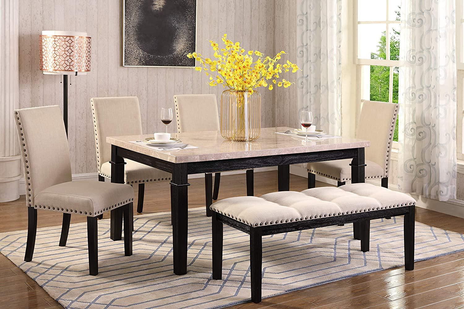 K Living Nancy Real Marble Top Dining, Marble Top Dining Room Table