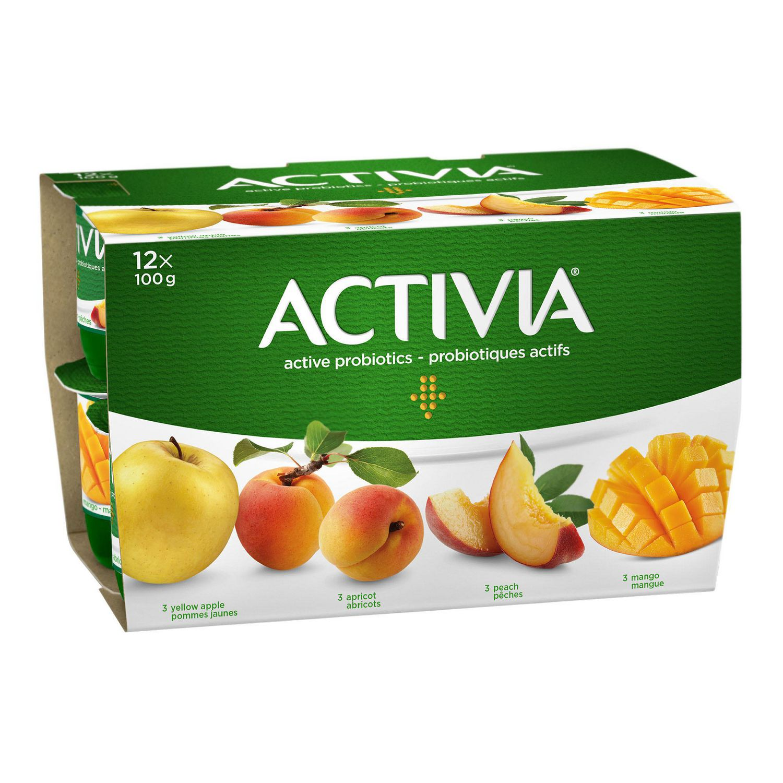 danone activia yellow apple/apricot/mango/peach 2.9% m.f. probiotic