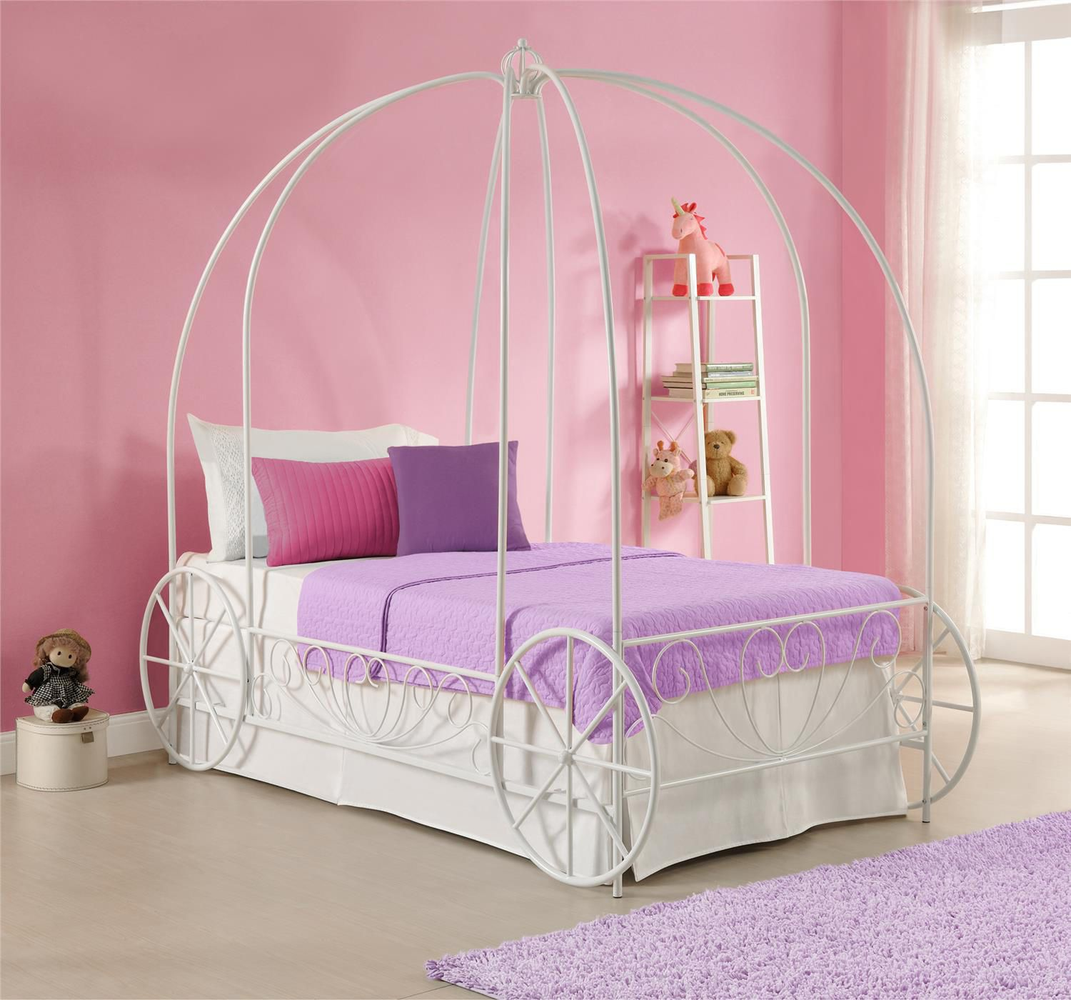 DHP Princess White Metal Twin Carriage Bed
