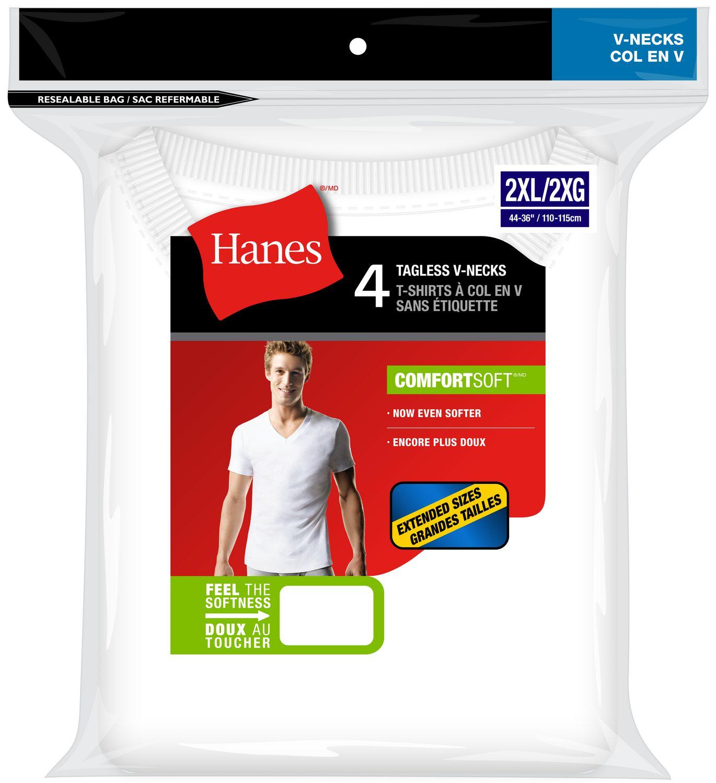 Size 2XL-3XL White 5-Pack Hanes Men/'s TAGLESS V-Neck Undershirt T-Shirts