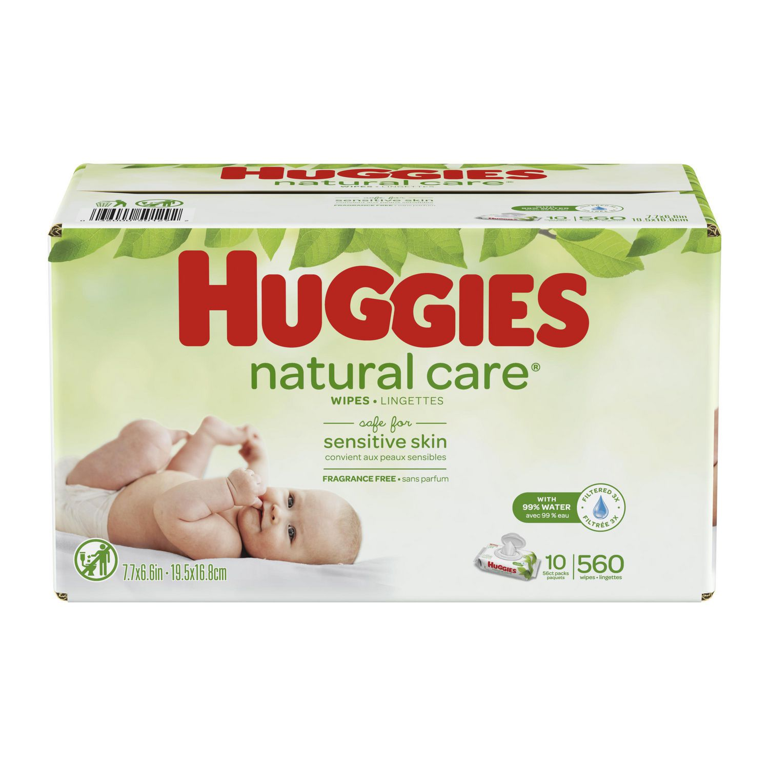 HUGGIES Natural Care Unscented Baby Wipes 504 Total Wipes Water-Based 3 Packs Sensitive 9 Total Flip Top Packs