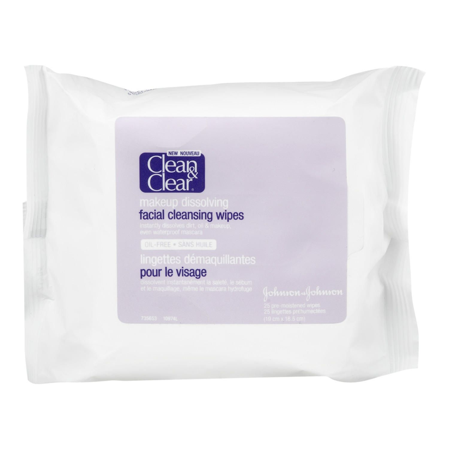 Clean clear makeup dissolving facial cleansing wipes