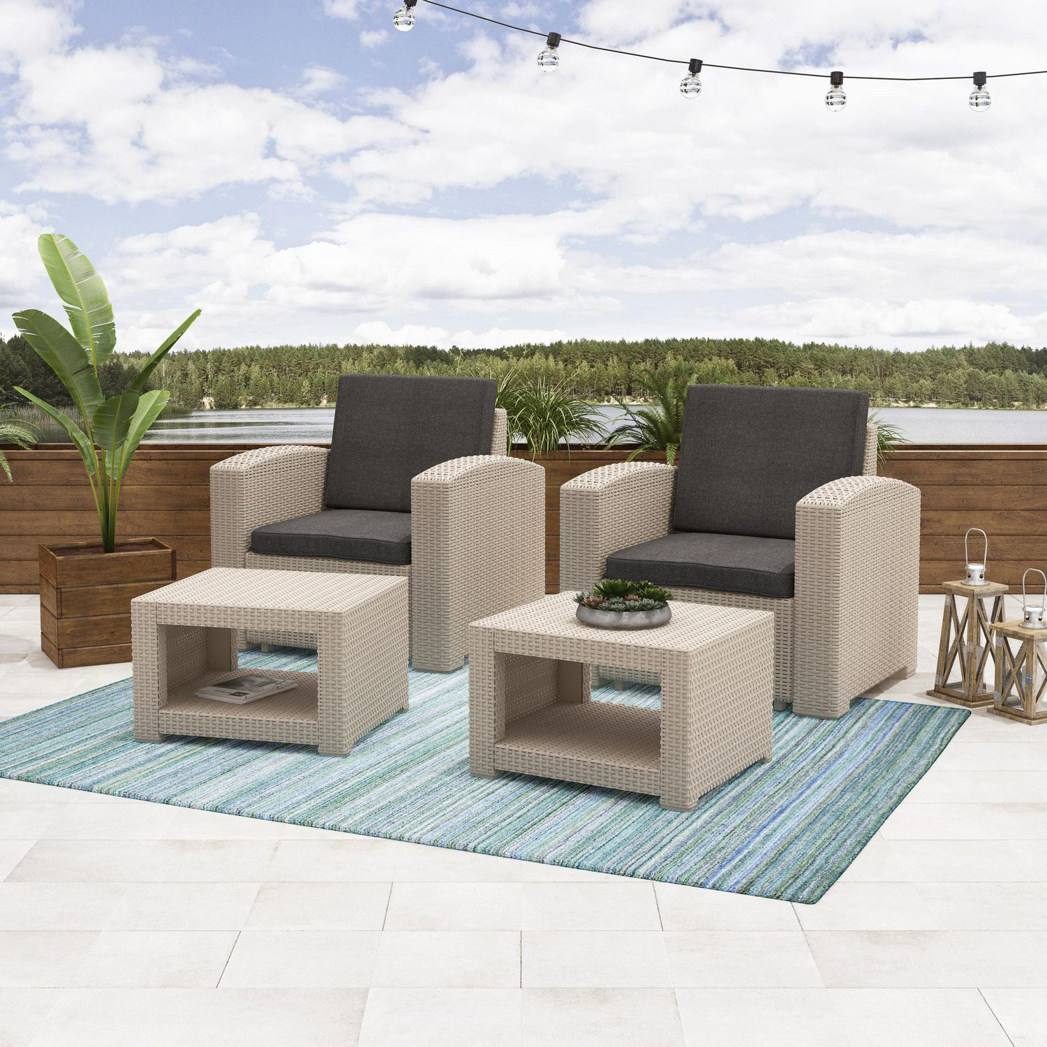 Incredible Corliving Adelaide 4Pc All Weather Resin Rattan Chair And Ottoman Patio Set Interior Design Ideas Gentotryabchikinfo