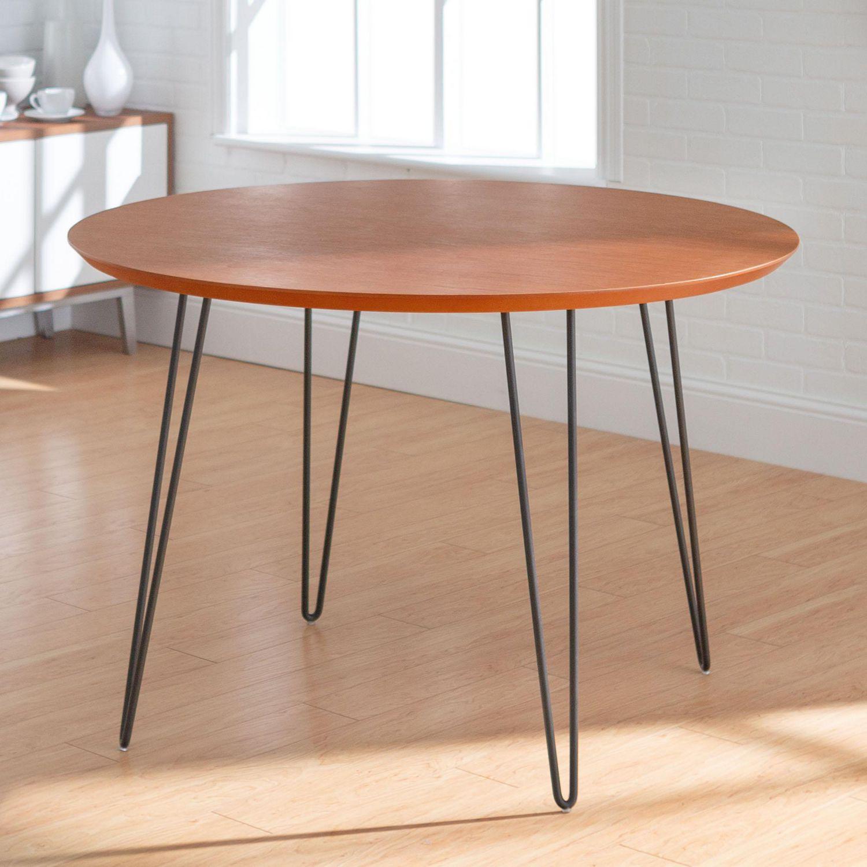 """Salle A Manger Retro manor park table de salle à manger ou cuisine ronde rétro-moderne à pieds  en épingles à cheveux de 46"""""""