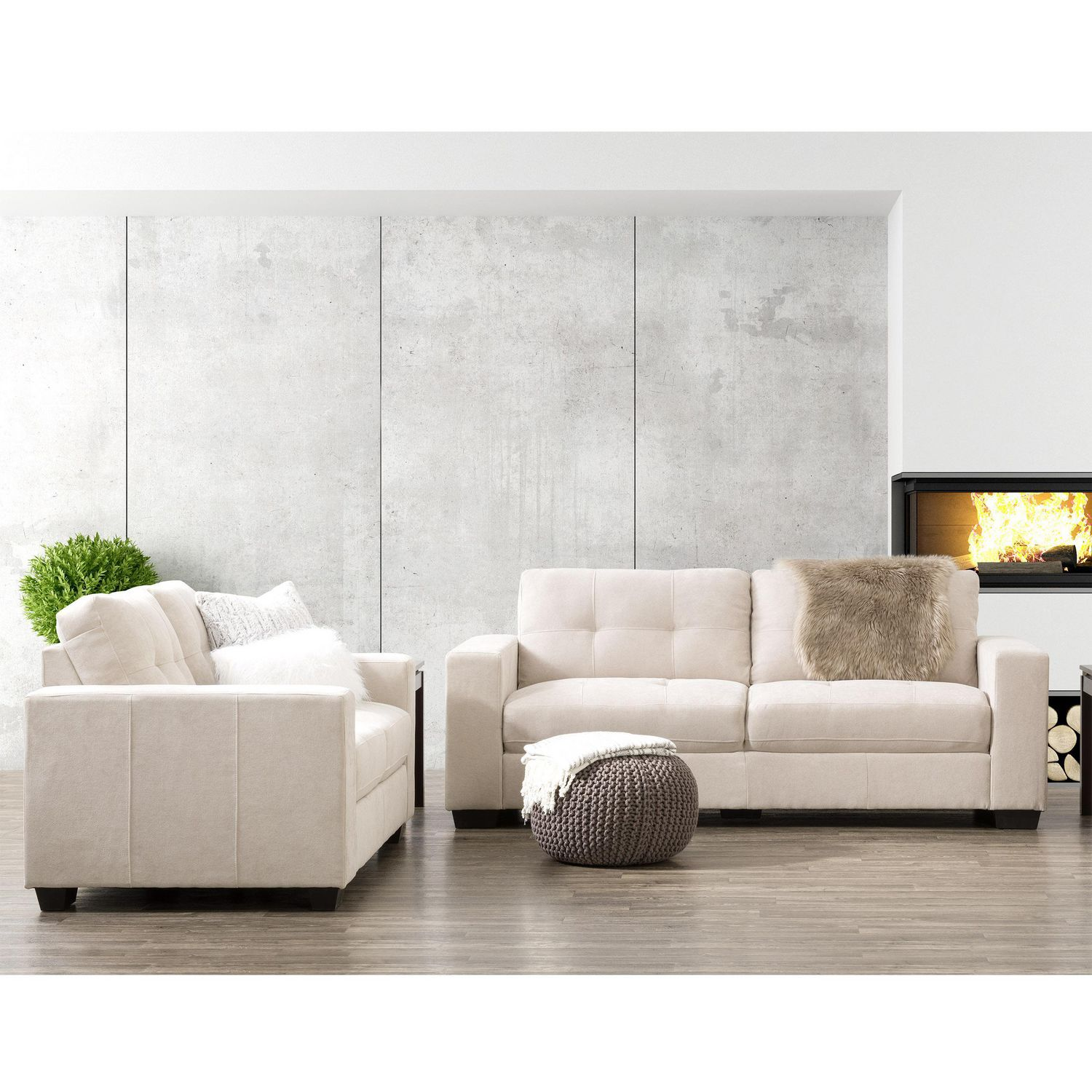 Corliving Club Tufted Beige Chenille Fabric Sofa Set