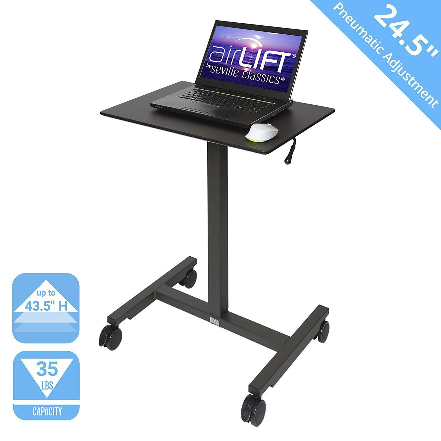 24 Seville Classics Airlift Pneumatic Laptop Computer Mobile Desk Cart Height Adjustable From 29 3 To 43 5 H Maple Office Furniture Accessories Desks Workstations