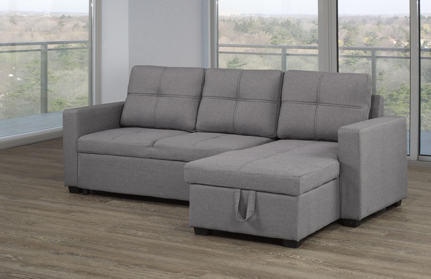 Picture of: Sectional With Pull Out Bed Storage Chaise Grey Walmart Canada