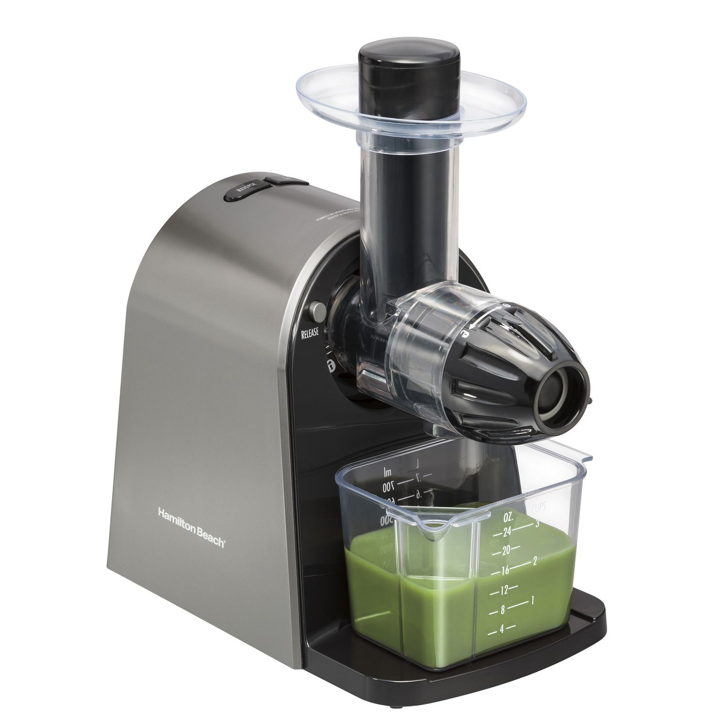 Black and brushed stainless steel Hamilton Beach slow juicer - best juicer for celery