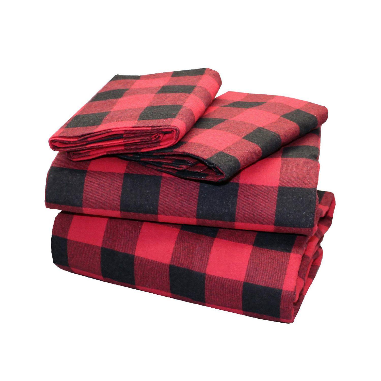 Canadiana Flannel Sheet Set Buffalo Plaid Queen Walmart Canada