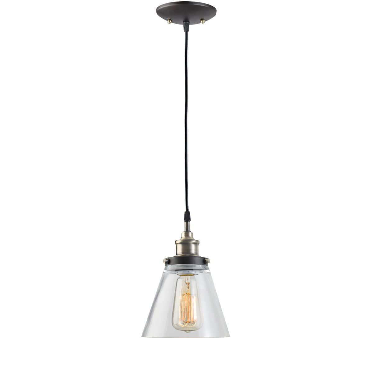 Pendant light fixture antique brass finish with zoomed image