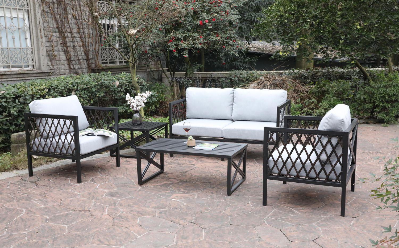 Tremendous Elgin 4 Piece Patio Conversation Set By Onsight Machost Co Dining Chair Design Ideas Machostcouk