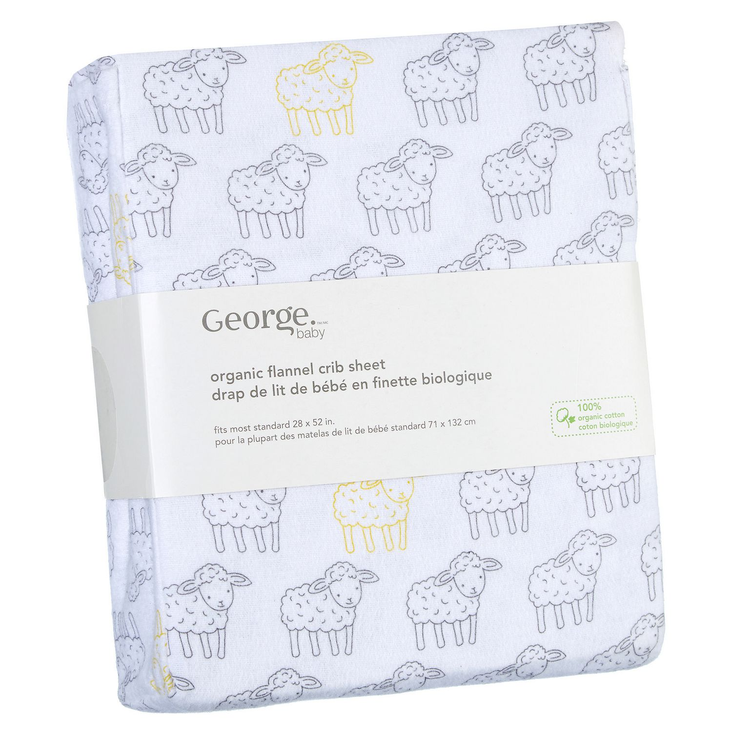 George Baby Organic Cotton Flannel Crib Sheet Walmart Canada