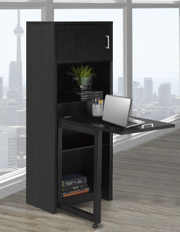 Brassex Multi-Tier Bookcase with Fold Down Desk in Grey