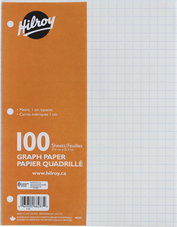 hilroy 100 sheet refill paper metric graph