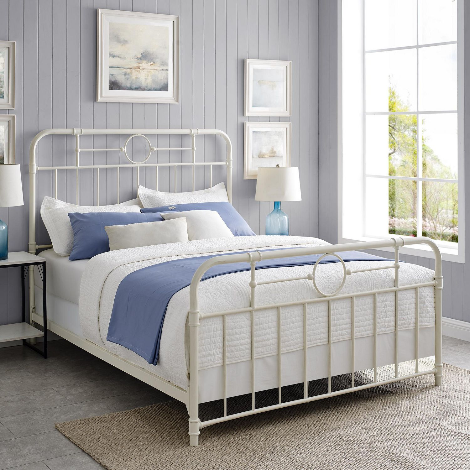 Picture of: Metal Pipe Queen Bed Antique White Walmart Canada
