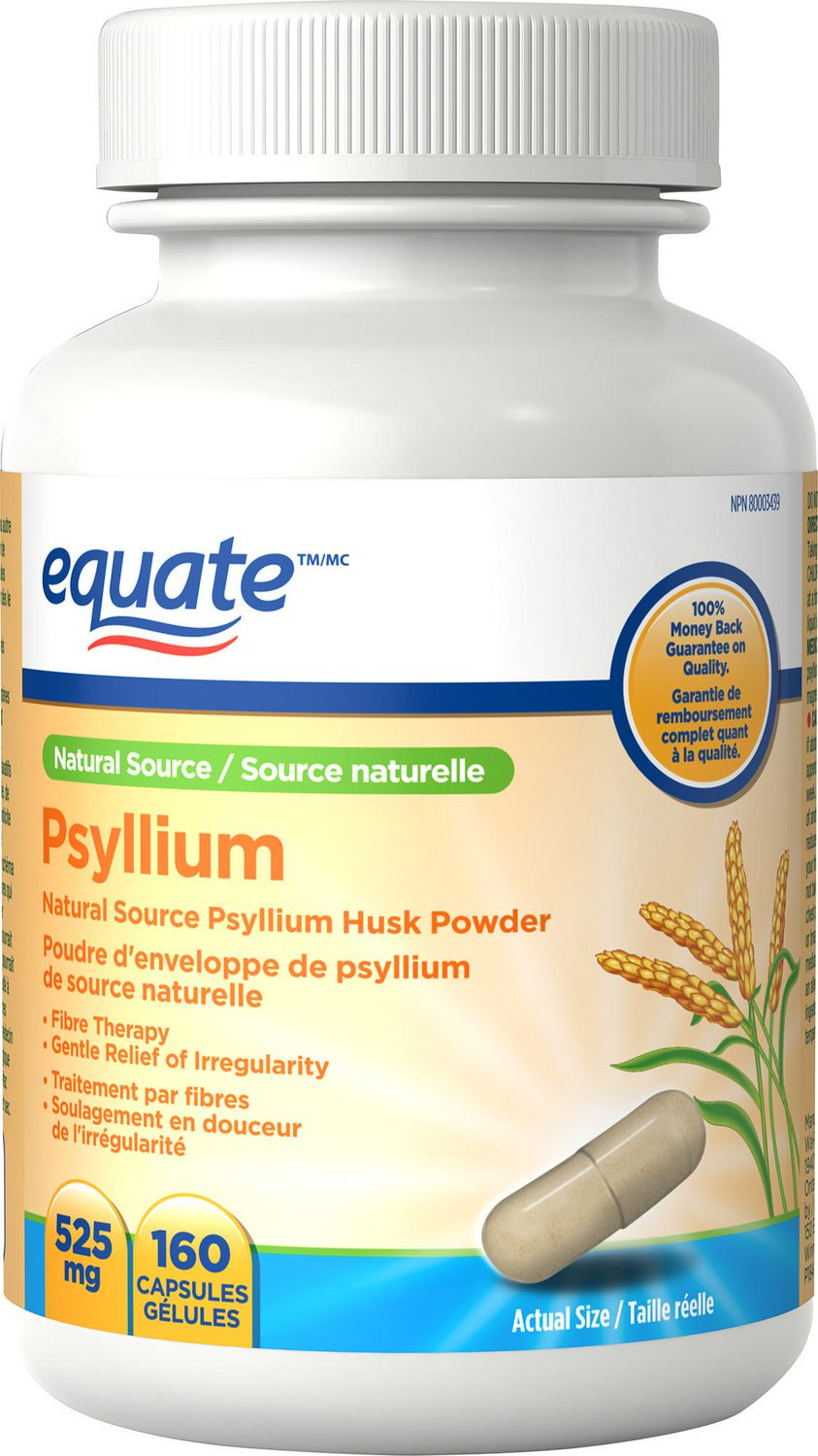 Equate Psyllium Natural Source Psyllium Husk Powder 525 Mg 160