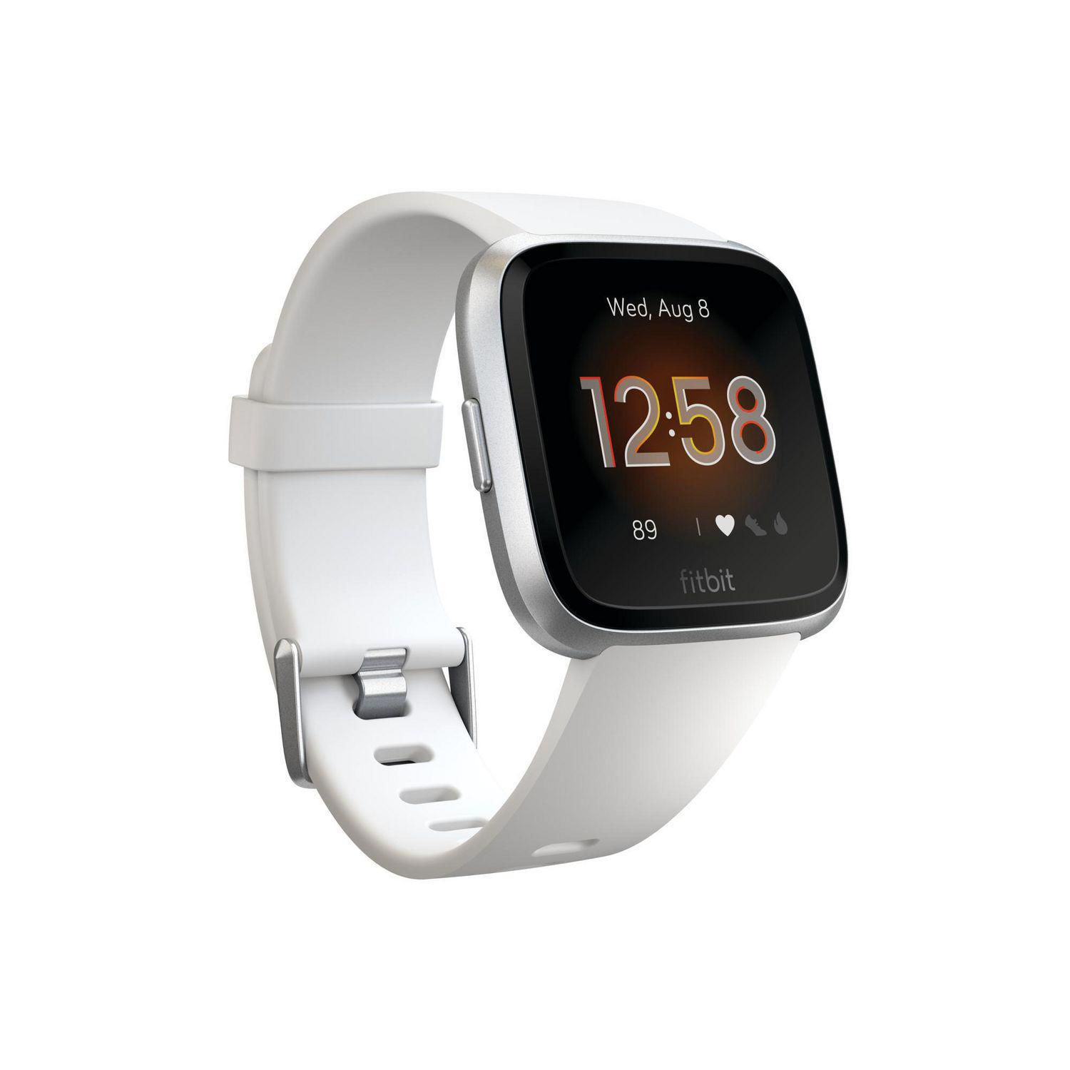 White Fitbit Versa Lite Edition with date, time and heart rate displayed on the screen - best Fitbit for weightlifting
