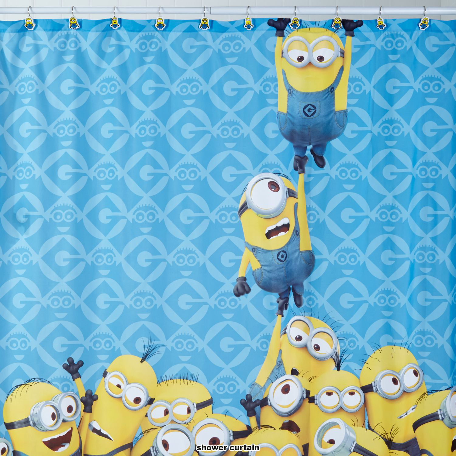 Mint green shower curtain and rugs - Minions Mayhem Despicable Me Shower Curtain