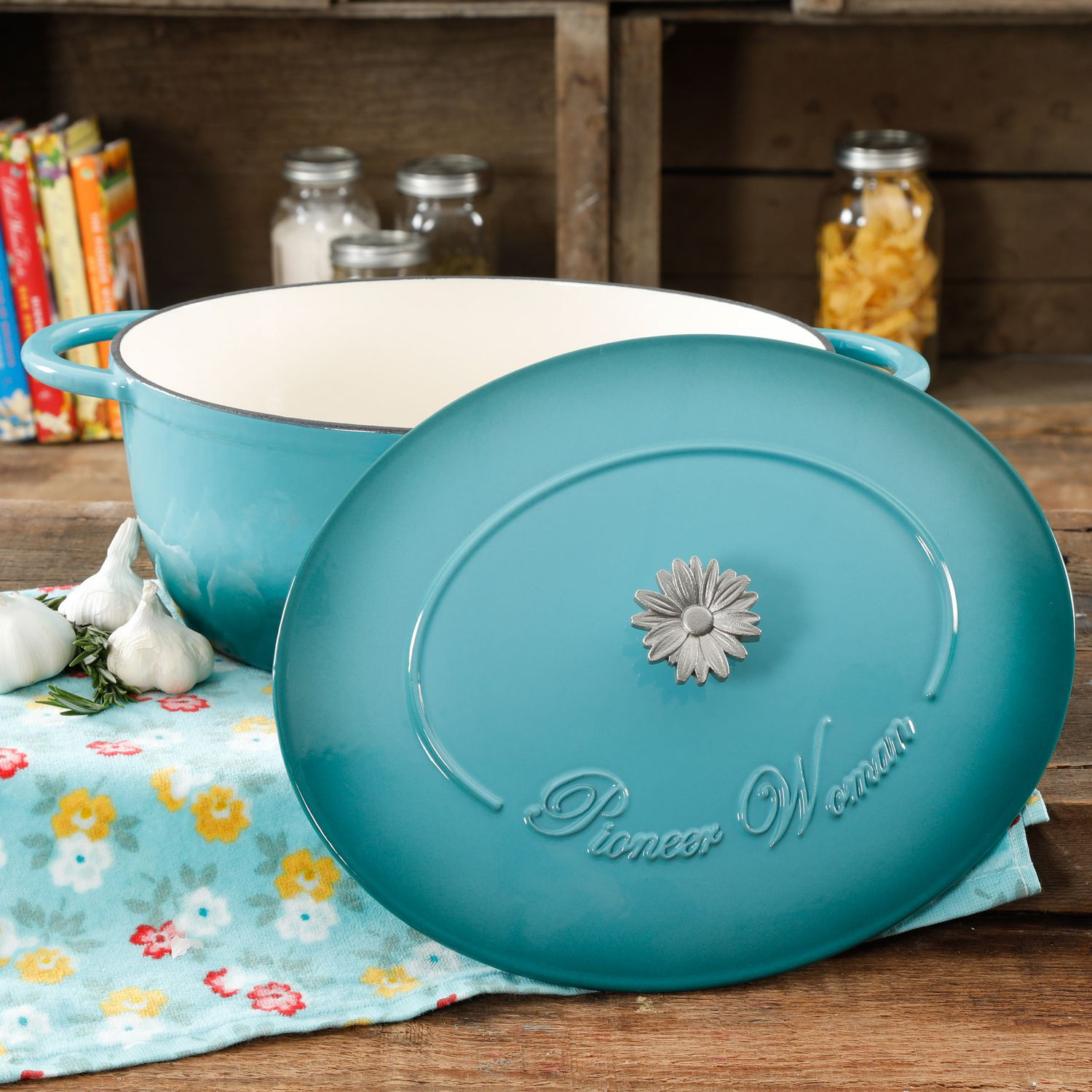 The Pioneer Woman Timeless Beauty Teal 7-QUART Dutch Oven ...