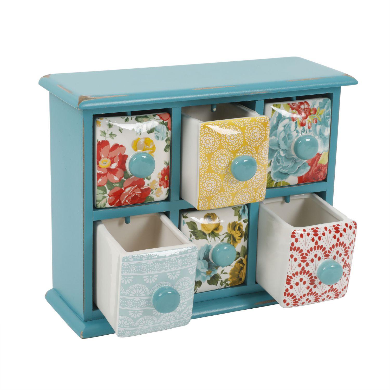 The Pioneer Woman Vintage Floral 6-Drawer Spice/Tea Box | Walmart Canada