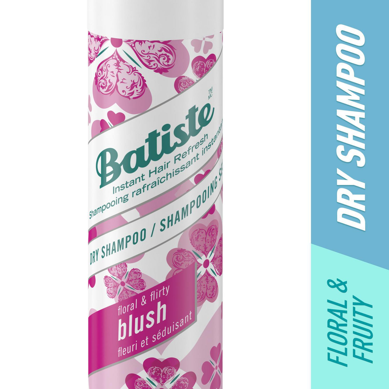 Pink and white spray can of Batiste Blush dry shampoo - best dry shampoo overall