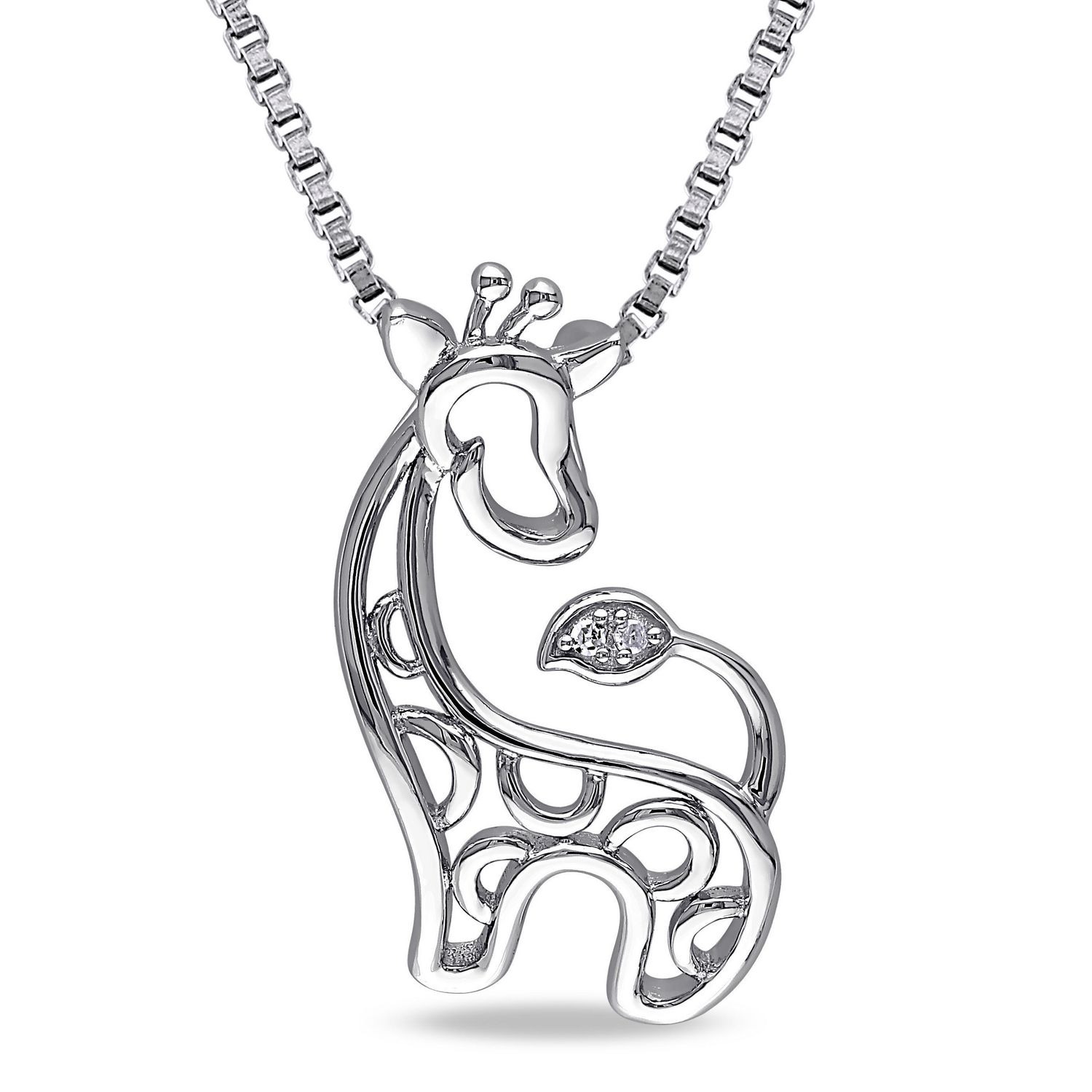 ip sterling walmart en diamond animal canada pendant miabella accent giraffe silver