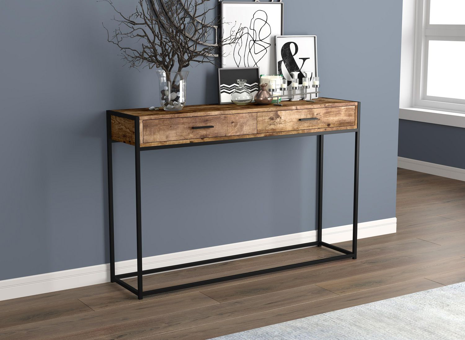 Picture of: Safdie Co Console Table 48l Brown Reclaimed Wood 2 Drawers Black Metal Walmart Canada