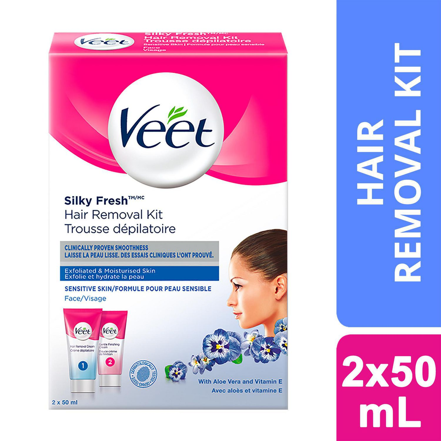 Veet Silky Fresh Face Hair Removal Kit Sensitive Skin 2 X 50