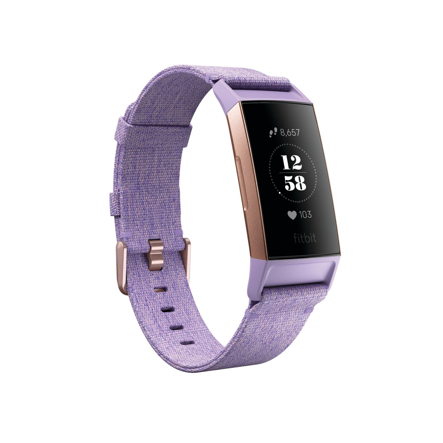 Fitbit Charge 3 Advanced Fitness Tracker Special Edition with graphite aluminum case, purple silicone band and digital display - best Fitbit for sleep tracking