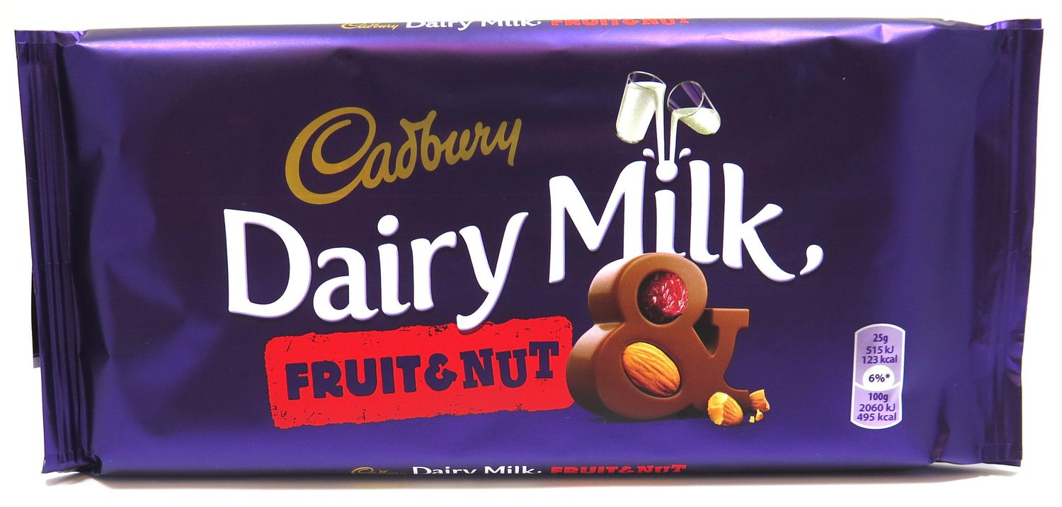 Image result for family-sized Cadbury fruit and nut bar