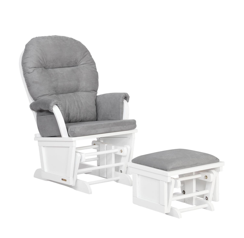 Lennox Glider Rocker Chair And Ottoman Combo White Grey