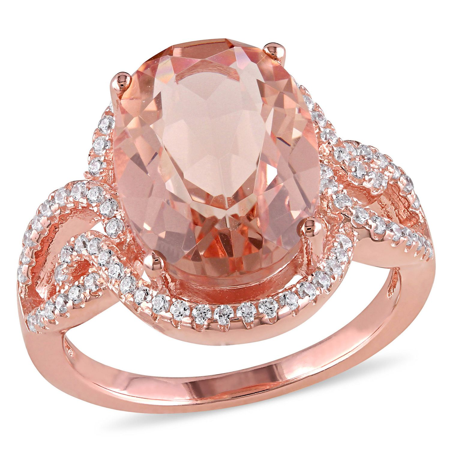 Tangelo 5.62 Carat T.G.W. Simulated Morganite and Cubic Zirconia ...