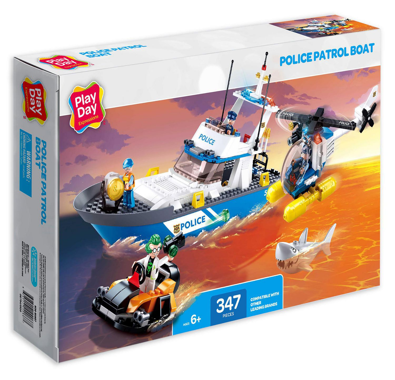 Play Day Police Patrol Boat Building Blocks Construction Set 347 Pc Walmart Canada