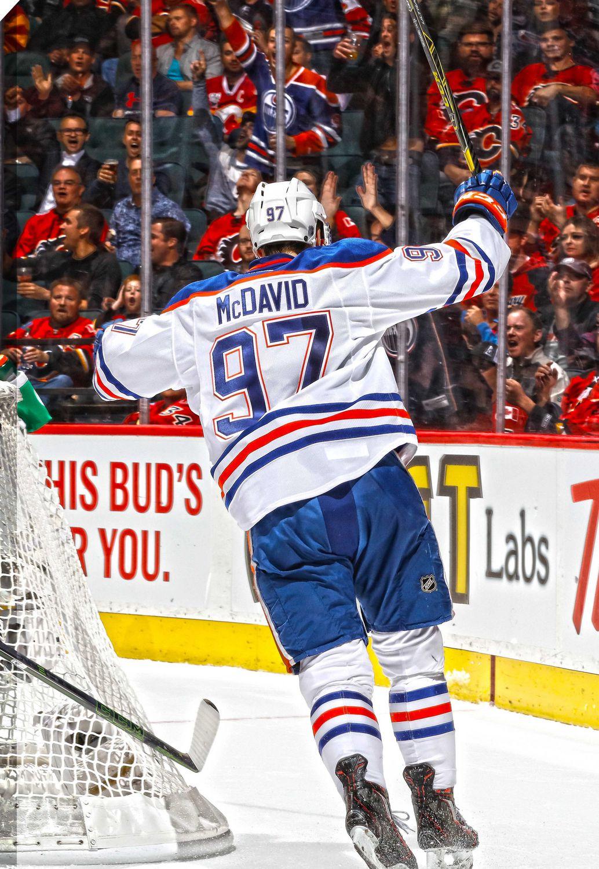 official photos 9c176 988ae Connor McDavid Edmonton Oilers White Scoring Canvas Frame
