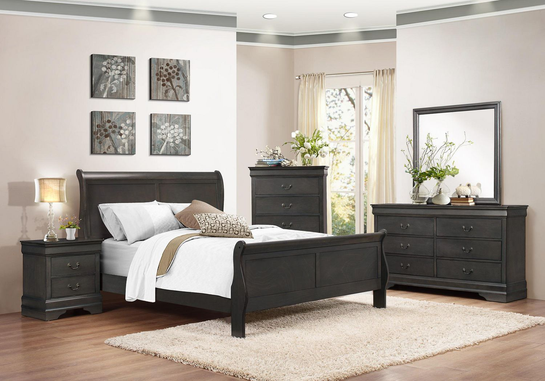 Topline Home Furnishings Louis Philippe 8 Pc Bedroom Set Grey Walmart Canada