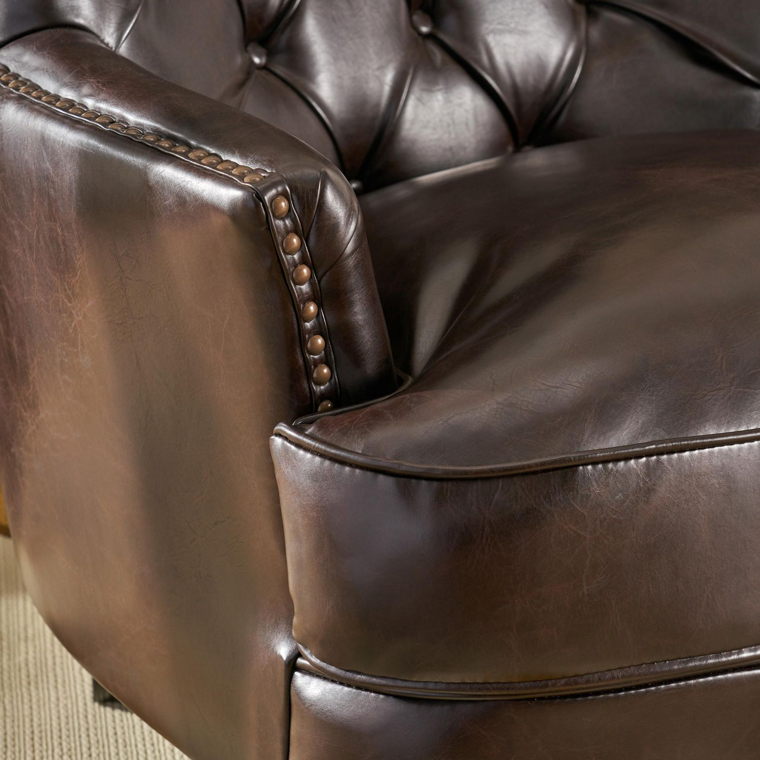 Picture of: Tori Tufted Brown Leather Club Chair Walmart Canada