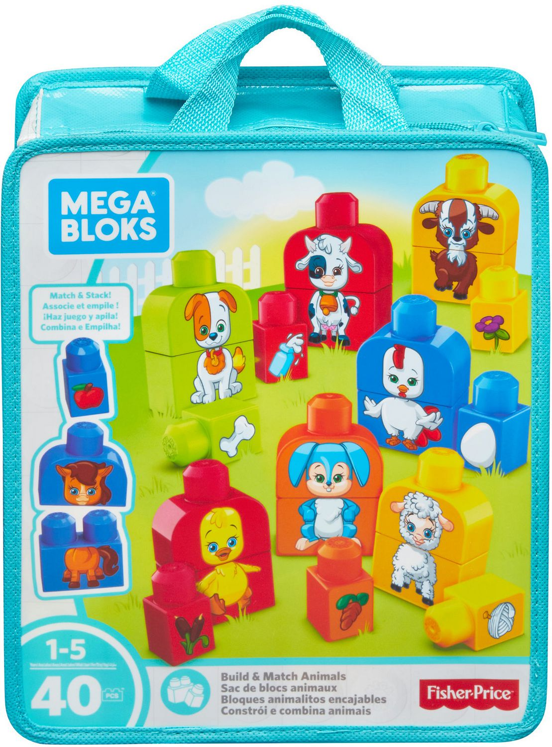 Mega Bloks Build & Match Animals Set [40 Pieces]