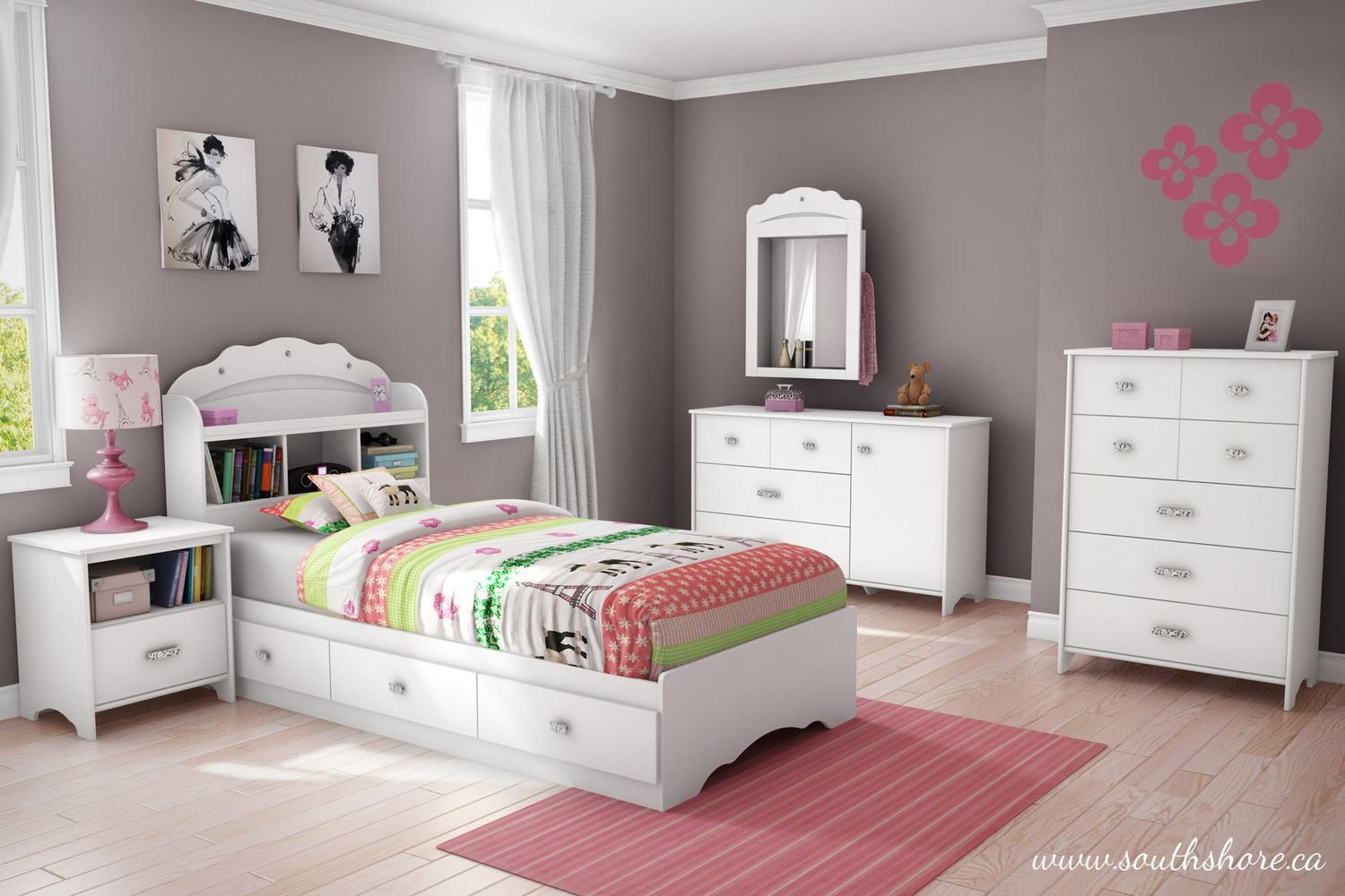 South Shore Bedroom Furniture South Shore Tiara Collection Twin Mates Pure White Bed Walmartca