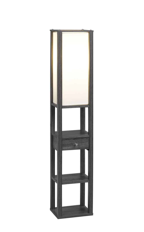 Brassex Inc Brassex 11-Tier Floor Lamp with Storage Grey