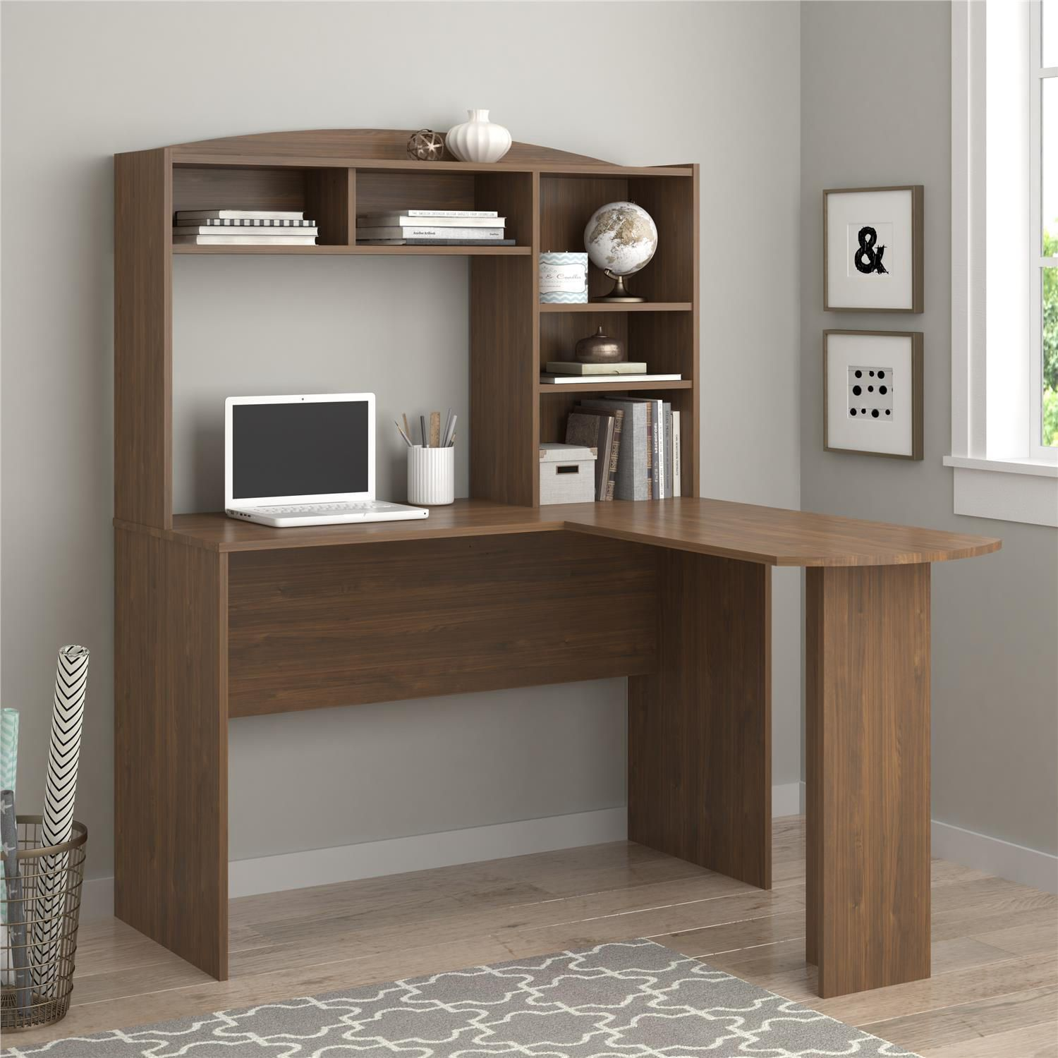somerset with cross shape bush inspirations popular intended desks l maple office for in to hutch decorations computer great shaped pertaining wood desk home