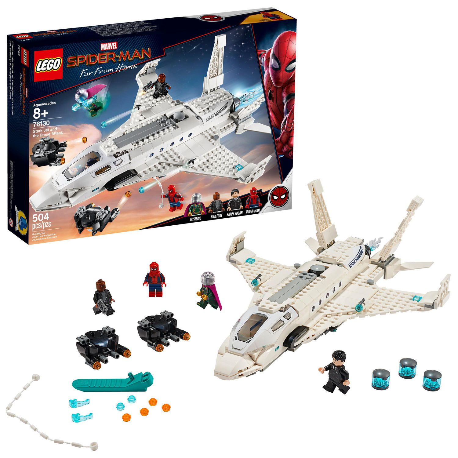 LEGO SPIDERMAN STARK JET AND THE DRONE ATTACK BRAND NEW IN BOX FOR AGES 8 YEARS