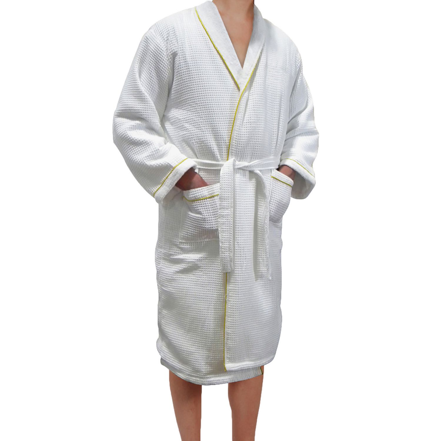 24a9d928f5 Radiant Saunas European Spa   Bath White Waffle Weave Terry Cloth Robe with  Gold Embroidered Trim