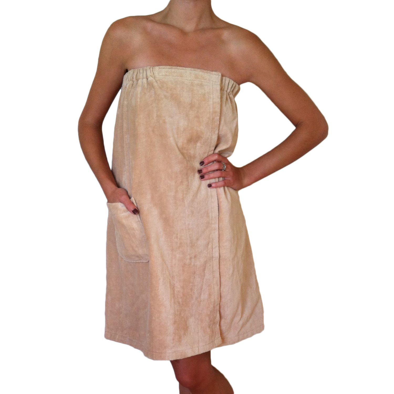 Radiant Sauna Womens Spa Bath Tan Terry Cloth Towel Wrap